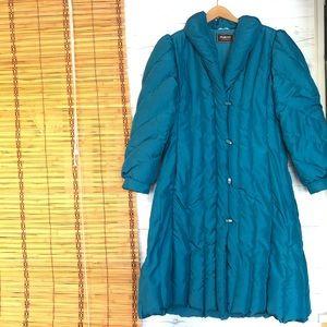 Vtg Macy California Puffer Coat Down Long Medium